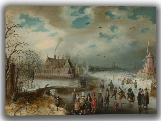 Breen, Adam van: Skating on the Frozen Amstel River. Fine Art Canvas. Sizes: A4/A3/A2/A1 (004083)